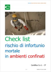 Check list rischio di infortunio mortale in ambienti confinati