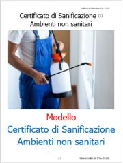Modello Certificato di Sanificazione Ambienti non sanitari Covid-19