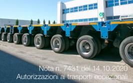 Nota n. 7431 del 14.10.2020 | Autorizzazioni ai trasporti eccezionali