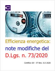 Efficienza energetica: note modifiche del D.Lgs. n. 73/2020