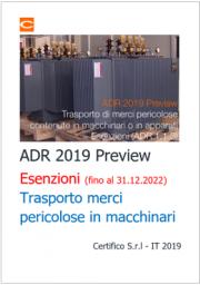 ADR 2019 Preview: Trasporto di merci pericolose in macchinari - Esenzioni
