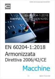 EN 60204-1:2018: Armonizzata Direttiva 2006/42/CE