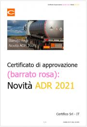 Certificato di approvazione (barrato rosa): Novità ADR 2021