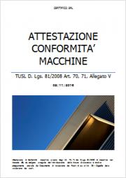 Attestazione Conformità macchine All. V D.Lgs 81/2008