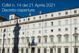 Comunicato stampa Consiglio dei Ministri n. 14 del 21 Aprile 2021