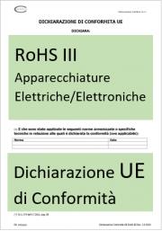 Dichiarazione UE di Conformità RoHS III - Modello