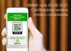 ANMA nota 03.09.2021 - Certificazione verde e medico competente