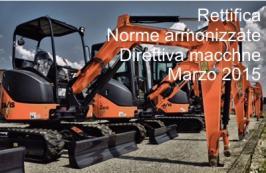 Rettifica Norme armonizzate Direttiva macchine del 13 Marzo 2015