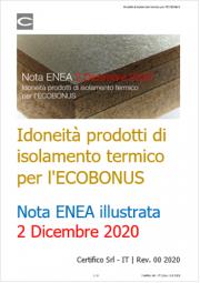 Idoneità materiali isolanti termici ECOBONUS | Nota ENEA 02 Dicembre 2020
