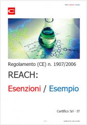 Regolamento (CE) n. 1907/2006 REACH: Esenzioni / Esempio