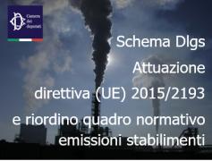 Schema Dlgs attuazione direttiva (UE) 2015/2193 e riordino quadro normativo emissioni