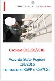Circolare CNI 296/2018 - Accordo Stato Regioni 128/2016
