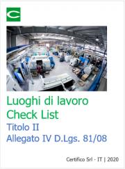 Luoghi di lavoro | Check List Titolo II Allegato IV D.Lgs. 81/08