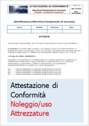 Attestazione conformità D.Lgs. 81/2008 Noleggio Concessione Uso Attrezzature