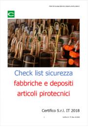 Check list sicurezza fabbriche e depositi articoli pirotecnici