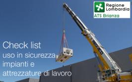 Check list uso in sicurezza impianti e attrezzature di lavoro