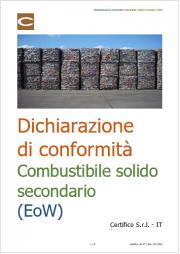 Dichiarazione di conformità combustibile solido secondario (EoW)