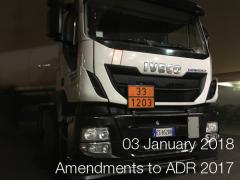 ADR: Amendments into force since 3 January 2018