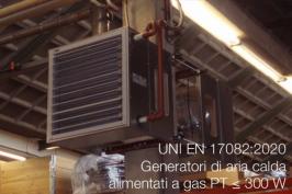 UNI EN 17082:2020   Generatori di aria calda a gas PT ≤ 300 W