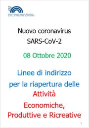 COVID-19 | Linee guida riapertura attività Economiche e Produttive Rev. 08 Ottobre 2020