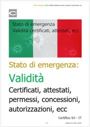 Stato di emergenza: Validità certificati, attestati, permessi, concessioni, autorizzazioni