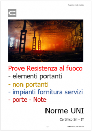 Prove Resistenza al fuoco elementi portanti, non portanti, impianti servizi: Norme UNI