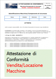 Le 4 dichiarazioni/attestazioni base macchine e attrezzature