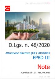 D.Lgs. n. 48/2020 Attuazione direttiva (UE) 2018/844 EPBD III: Note