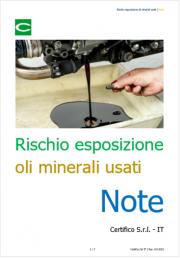Rischio esposizione ad oli minerali usati - Note
