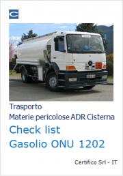 Checklist trasporto in cisterna Gasolio (ONU 1202) ADR