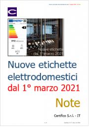 Nuove etichette energetiche elettrodomestici dal 1° marzo 2021
