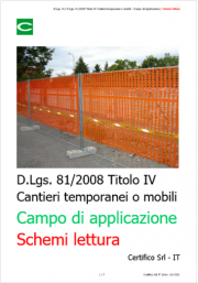 Cantieri temporanei o mobili: Campo di applicazione / Schemi