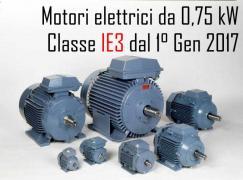 Motori elettrici da 0,75 kW: Dal 1 Gennaio 2017 Classe IE3