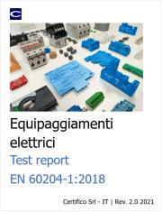 EN 60204-1:Test Report Equipaggiamenti elettrici