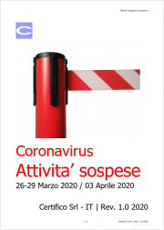 Elenco attivita' sospese Coronavirus