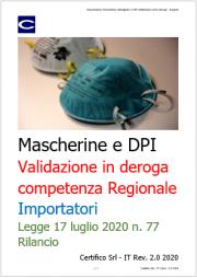 Mascherine e DPI: La Legge rilancio introduce la competenza regionale per la validazione in deroga