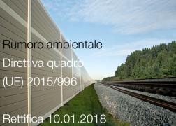 Rumore ambientale: Rettifica Direttiva quadro (UE) 2015/996