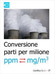 Conversione parti per milione (ppm) in mg/m3