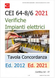CEI 64-8 Parte 6 Verifiche Impianti elettrici - Tavola di concordanza Ed. 2012 - Ed. 2021