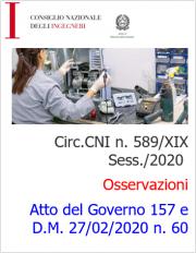 Circ.CNI n. 589/XIX Sess./2020