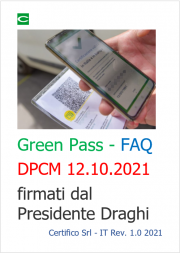 Green Pass - FAQ sui dpcm 12.10.2021 firmati dal Presidente Draghi
