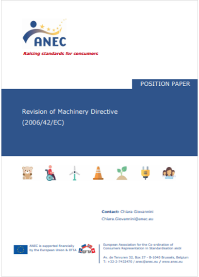 Position paper Revision of Machinery Directive 2006 42 EC ANEC